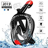 amzdeal Snorkel Mask Full Face Snorkeling Mask Foldable with Detachable Camera Mount,Diving Mask 180° Panoramic View and Free Breathing, Anti-Fog and Anti-Leak with Adjustable Straps