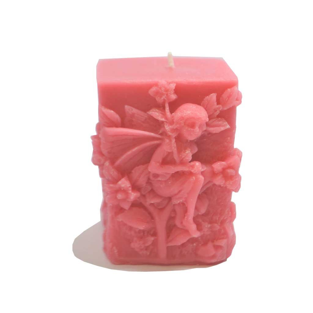 Mystery Mountain Fleur Nature Fairy Cube Candle-Hand fabriquée au Royaume-Uni, en Cire, Rose, 4x 4x 7cm FairyCandleCube