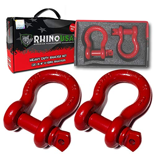 Rhino USA D Ring Shackle (2 Pack) 41,850lb Break Strength - 3/4