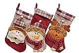 Image of YAMUDA 3 Pcs Set Big size Classic Christmas Stockings Christmas Stocking XMAS Gift