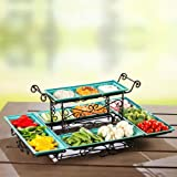 Gourmet Buffet Server with Steel Frame and Six Stoneware Platters (Blue)