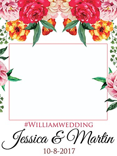 Custom Floral Wedding Photo Booth Frame - Sizes 36x24, 48x36; Personalized Floral Wedding Home Decorations, Bridal shower photo booth, Wedding selfie frame, Handmade Party Supply Photo Booth - Designs Handmade Frame