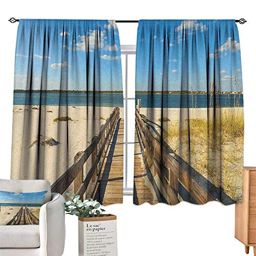 Unpremoon Beach,Blackout Draperies for Baby Bedroom Perdido Beach and Long Pier Deck Over Sand Gulf of Mexico South America Resort Theme Window Drapes for Bedroom W55 x L45 ()