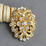 40 pcs Gold Rhinestone Brooch Crystal Brooches