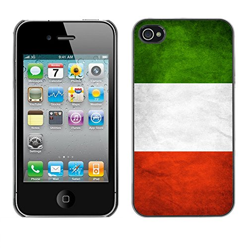 Omega Case PC Polycarbonate Cas Coque Drapeau - Apple iPhone 4 / 4S ( Italy Grunge Flag )