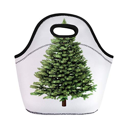 Semtomn Lunch Tote Bag Christmas Tree Without Any As Festive Evergreen Single Plant Reusable Neoprene Insulated Thermal Outdoor Picnic Lunchbox for Men ()