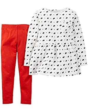 Baby Girls' 2-Piece Peplum Top and Pant Scottie Dog