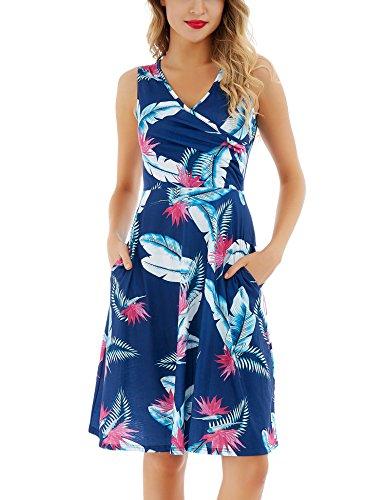 Uniboutique Womens Plus Size Amazon Sexy Feather Print Faux Wrap V Neck Sleeveless Midi Dress with Pockets Navy Blue XX-Large