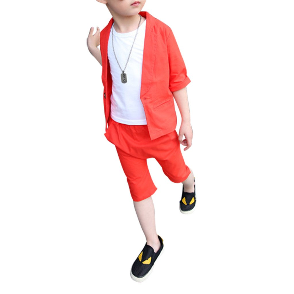 4a32dd0deb3 Amazon.com  ShangYi Boys Kid Chlidren Summer Linen Cotton Short-Sleeved  Small Suit Red 150  Clothing