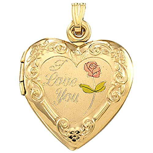 14k Yellow Gold 'I Love You' Heart Locket with Embossed Flowers by The Men's Jewelry Store (for HER)