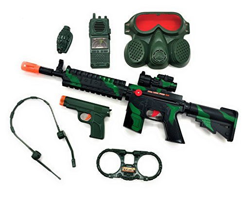Military Friction Combat Force 7 Piece Boys Toys Playset, Boys Action Playset w/ Friction Gun M16 , Handcuffs , 9 mm Pistol , Headphones , Gas Mask & Accessories , (Lever Gas Cock)
