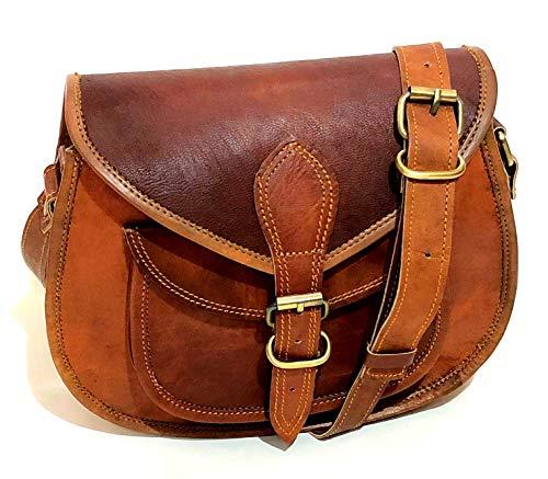 Women Vintage Genuine Tote Leather Bag Saddle Cross Body Satchel Shoulder Handmade Multi Pocket Purse