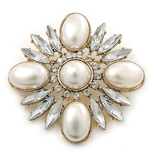 Bridal Vintage Inspired Clear Crystal, White Synthetic Pearl Square Brooch In Gold Plating - 60mm Across (Square Brooch Vintage)