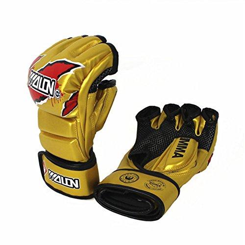 AOBRITON Boxing Kickboxing Gloves Half Finger MMA Muay Thai Pro Sparring Punch Training Sandbag Fighting Mitts ?Yellow ()