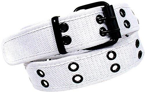 Enimay Designer Double Hole Canvas Belt Black Buckle White Medium