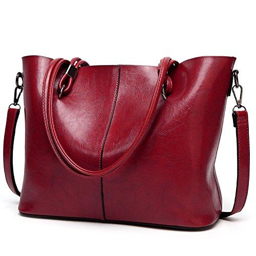 Ladies Work Large Shoulder Bag Top Handle Satchel Handbags Soft Leather Tote Bags Wine Red