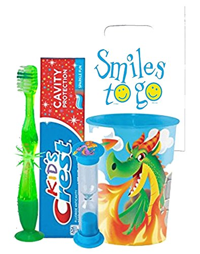 Fire Breathing Dragon Inspired 4pc Bright Smile Oral Hygiene Bundle! Light Up Toothbrush, Toothpaste, Brushing Timer & Mouthwash Rise Cup! Plus Dental Gift Bag &Remember to Brush Visual -