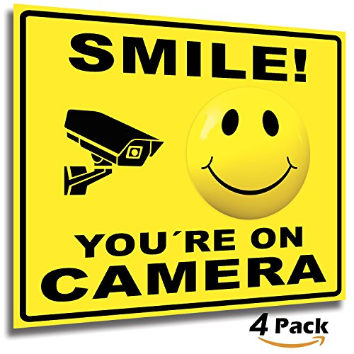Smile You're On Camera Sticker Sign  4 Pack 7x6 Inch  Premium Self-Adhesive Vinyl, Bubble Free Application, Laminated for Ultimate UV, Weather, Scratch, Water and Fade Resistance, Indoor and Outdoor