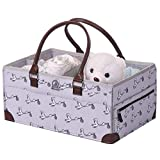 Baby Diaper Caddy Organizer - Shower Registry Gift Basket for Newborn Boy Girl, Large Nursery Storage Bins with Long Handle, Portable Felt Tote Bag for Baby Things, Car Travel, Changing Table (Grey)