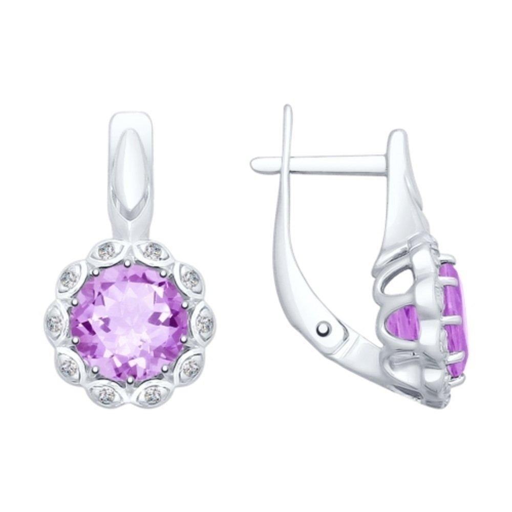 mirkada Femme 925Argent Boucles d'oreilles avec améthyste et Oxyde de Zirconium Violet