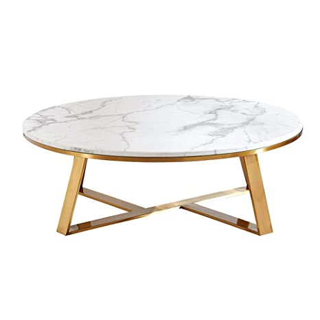 Coffee Table Modern Round White Marble Coffee Table