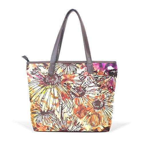 COOSUN Modelo abstracto colorido de las flores Arte digital de la PU del hombro del cuero del bolso del totalizador de muchachas de las mujeres M (40x29x9) cm muticolour