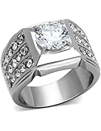 2.94 Ct Round Cut Cubic Zirconia Silver Stainless Steel Unisex Ring Sizes 5-13