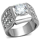 2.94 Ct Round Cut Cubic Zirconia, Silver Stainless Steel Unisex Ring Size 9