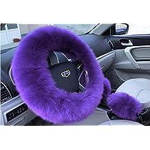 Autumn & Winter girl car accessories Warm fur steering wheel cover Handbrake Cover And Gear Shift Cover 3Pcs/Set (purple)