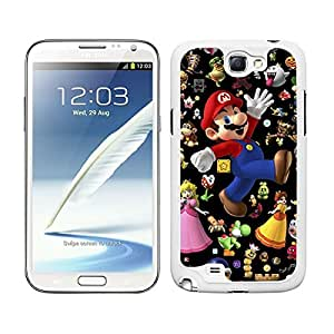 FUNDA CARCASA PARA GALAXY NOTE 2 DISEÑO ESTAMPADO SUPER MARIO FONDO NEGRO BORDE BLANCO