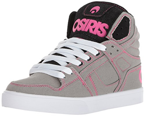 Osiris Women's Clone Skate Shoe, Grey/White/Pink, 7 M US