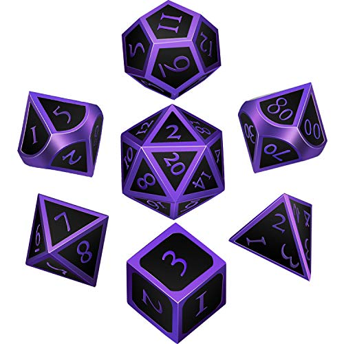 (Hestya 7 Pieces Metal Dices Set DND Game Polyhedral Solid Metal D&D Dice Set with Storage Bag and Zinc Alloy with Enamel for Role Playing Game Dungeons and Dragons (Purple Edge Black))