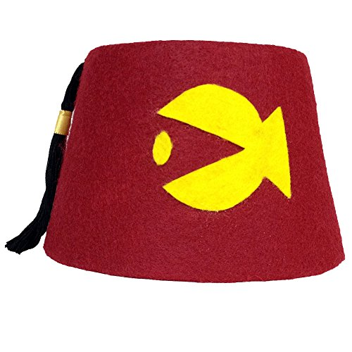 Cosplay & Fan Gear Men's FISH Cosplay Fez Medium Red