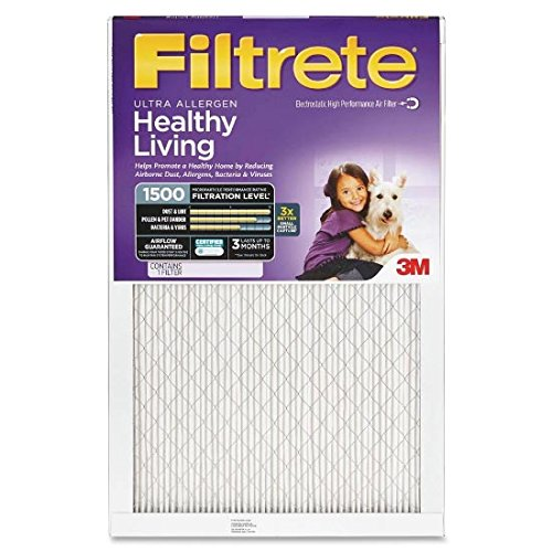 14x25x1 (13.7 x 24.7) Ultra Allergen Reduction 1500 Filter by 3M (2 Pack)