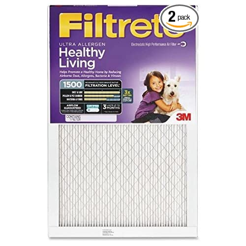2 Pack Ultra Allergen Reduction 1500 Filter by 3M 13.7 x 24.7 14x25x1