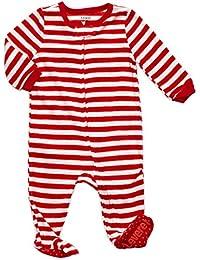 Boys Girls Footed Fleece Christmas Pajama Sleeper (Size 6 Months-5 Toddler)