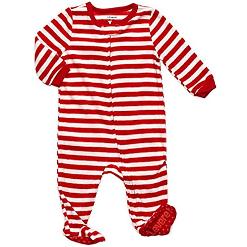 leveret fleece footed pajama sleeper red white stripes 6 12 months