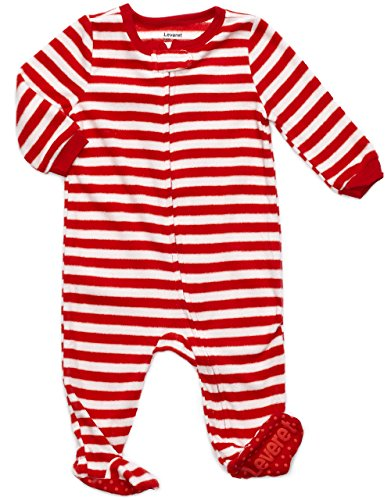Leveret Kids Fleece Baby Boys Girls Footed Pajamas Sleeper Christmas Pjs (Red & White Stripes,Size 12-18 Months) ()