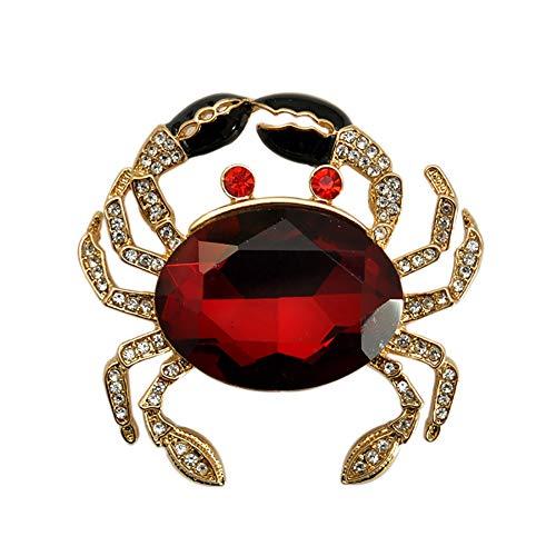 MoGist Cute Red Crab Animal Gold Tone Brooch Pin Rhinestone Crystal Lapel Pin Badge ()