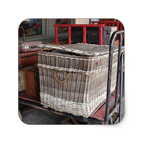 Vintage luggage and wicker basket - Range Square Sticker - Sticker Graphic - Travel Vintage Luggage Sticker for Bumpers Suitcase Luggage Folders Decor Sticker Decal Souvenir Sticker Decal
