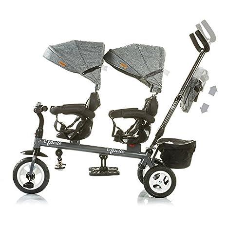 Korb Chipolino Tricycle Dreirad Apollo f/ür Zwillinge mit Lenkstange Sonnendach Braun