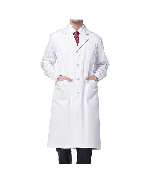 WDF Bata de Laboratorio médicos Bata Uniforme de Trabajo Enfermera Blanco Hombres Manga Larga Largo párrafo Botones Esposas: Amazon.es: Ropa y accesorios