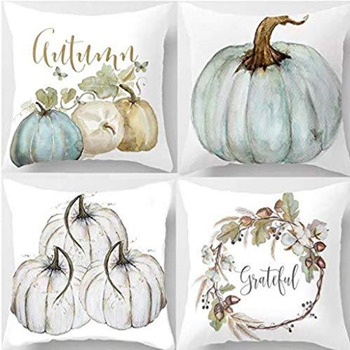 Decemter Happy Fall Yall Pumpkin Thanksgiving Decoration Cotton Blend Cushion Cover Set of 4,18x18