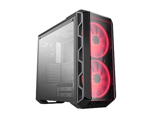 Cooler Master H500 - Caja de ordenador de sobremesa ATX H500 (doble ventilador rgb 200mm), negro y rojo