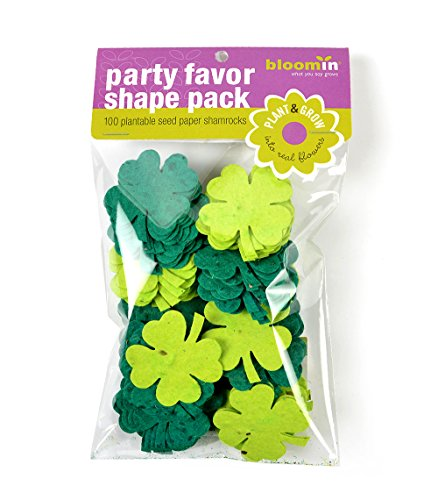 Bloomin Seed Paper Shape Packs - Four Leafed Clover Shamrock Shapes (size1.8x1.9