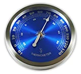 Ambient Weather WS-208T 9'' Brushed Aluminum Contemporary Thermometer, Metallic Radiant Blue
