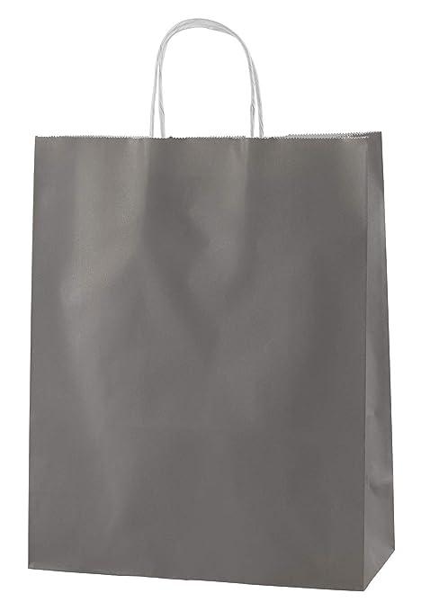Thepaperbagstore 25 Bolsas De Papel De Colores, Reciclables Y Reutilizables, con Asas Retorcidas, Gris - Medianas 250x110x310mm
