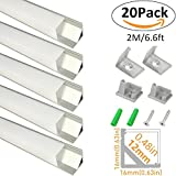 LightingWill 20-Pack V-Shape LED Aluminum Channel 6.6ft/2M Anodized Silver Corner Mount Extrusion for <12mm width SMD3528 5050 LED Strips with Vertical Cover, End Caps and Mounting Clips V01S2M20
