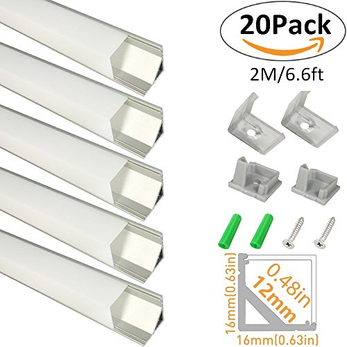LightingWill 20-Pack V-Shape LED Aluminum Channel 6.6ft/2M Anodized Silver Corner Mount Extrusion for <12mm width SMD3528 5050 LED Strips with Vertical Cover, End Caps and Mounting Clips V01S2M20 by LightingWill (Image #8)
