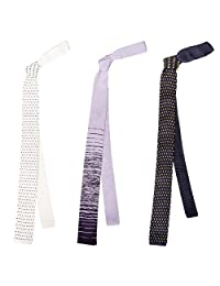 BMC Stylish 3pc Mixed Pattern Mens Fashion Knitted Neck Tie Accessory Set - Mr. Right Now